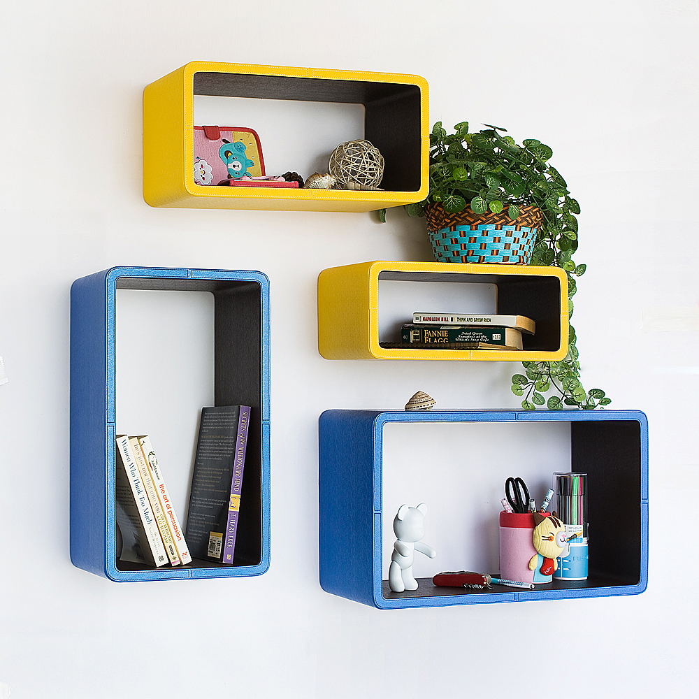 [Yellow & Blue] Rectangle Leather Wall Shelf (Set of 4)