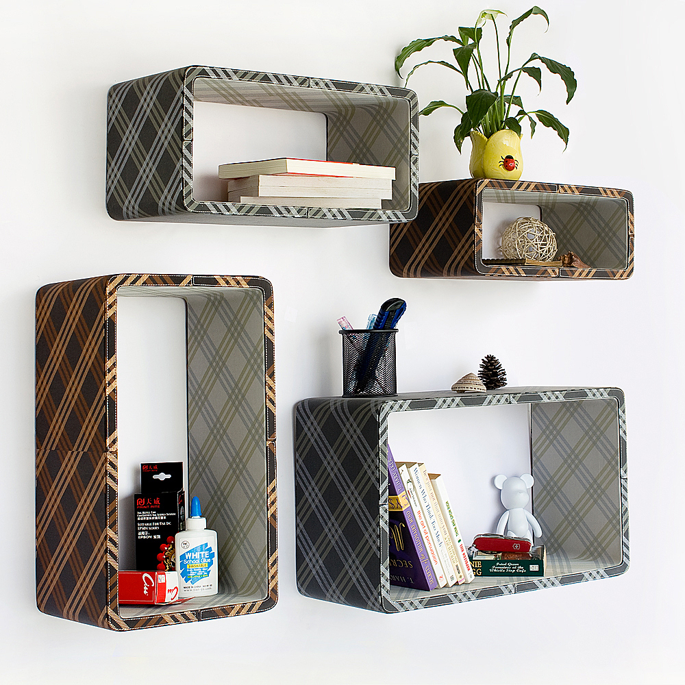 Gold   Gray Plaid  Rectangle Leather Wall Shelf