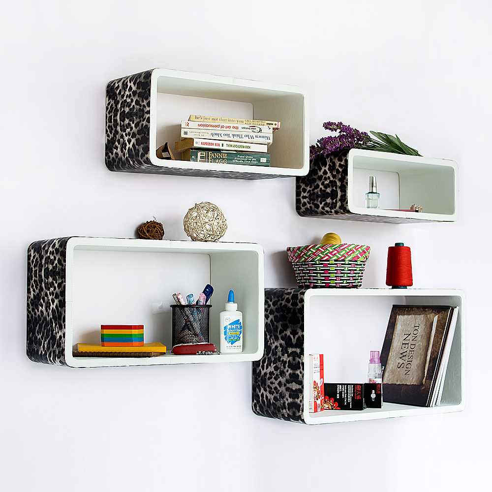[Leopard & White] Rectangle Leather Wall Shelf (Set of 4)