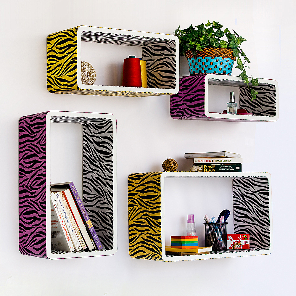 [Purple Yellow Zebra] Rectangle Leather Wall Shelf(Set of 4)