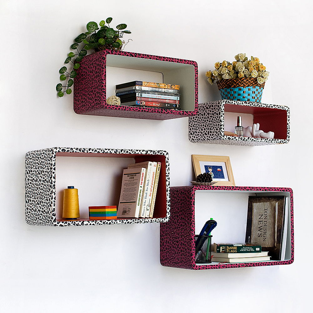 [Crimson White Panther] Rectangle Leather Wall Shelf 4PC