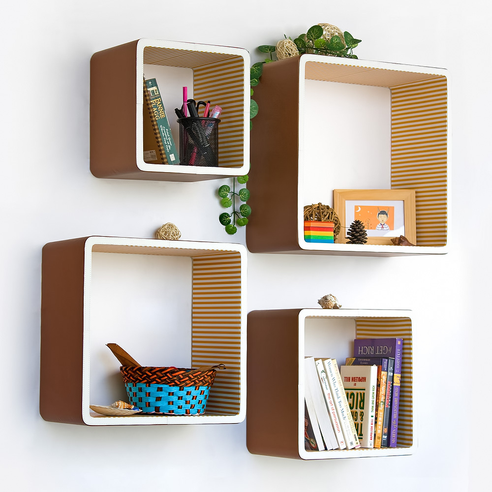 [SaddleBrown & Orange Strip] Square Leather Wall Shelf 4PC