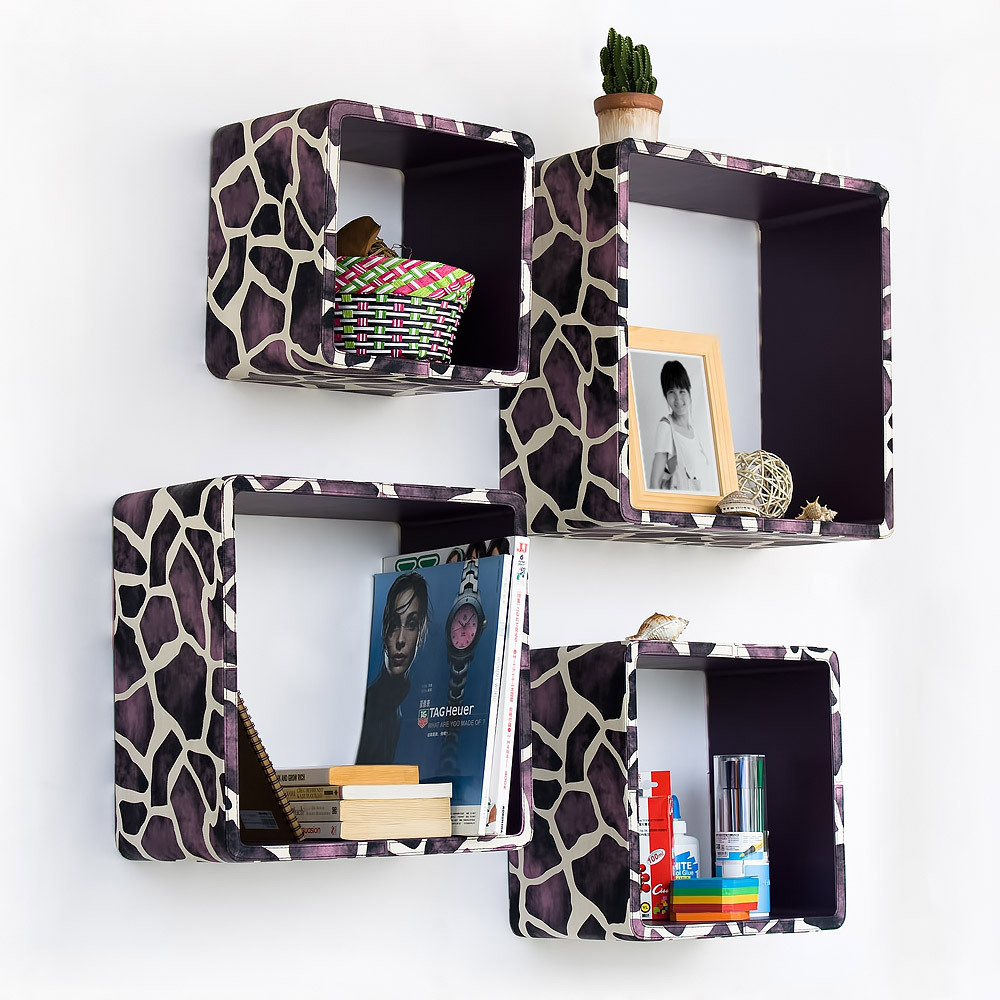 Purple Giraffe  Square Leather Wall Shelf