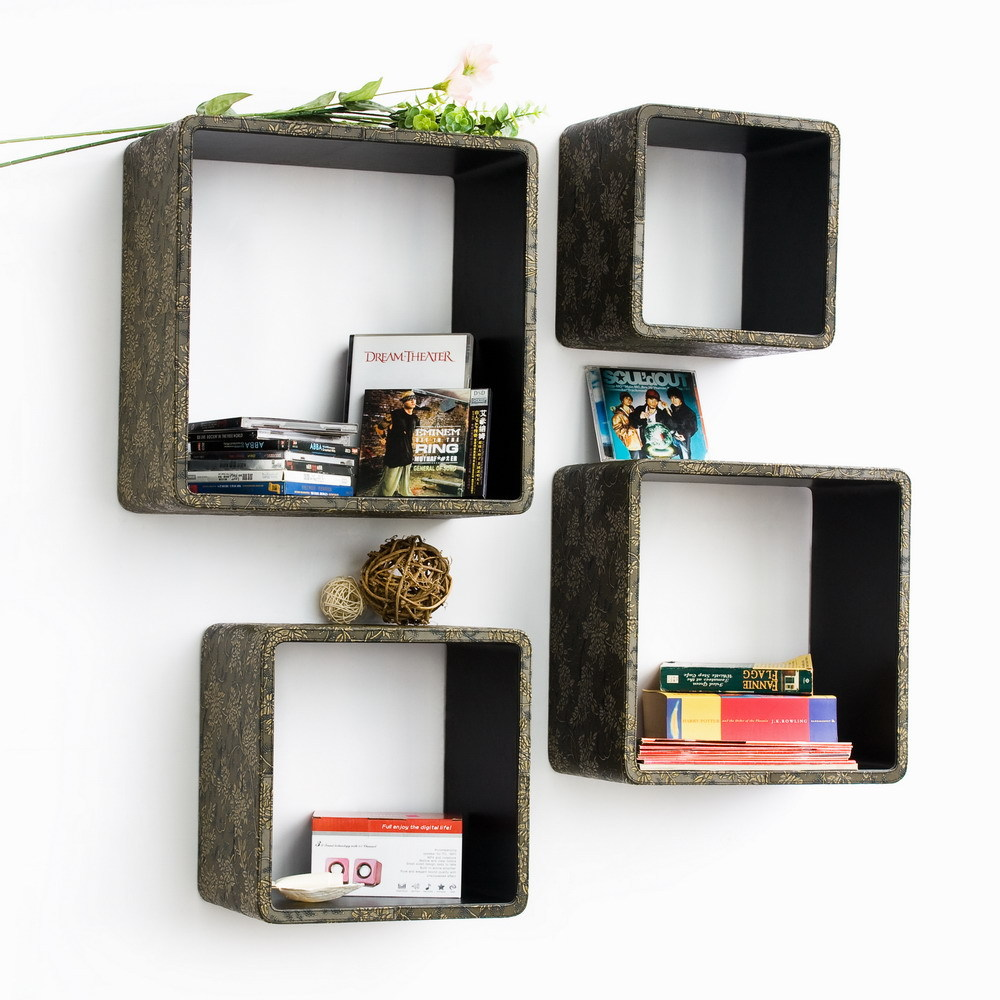 [Retro Bronze] Square Leather Wall Shelf (Set of 4)
