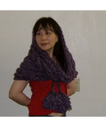 hand knitted shoulder/head cowl burgandy red pu... - $35.00