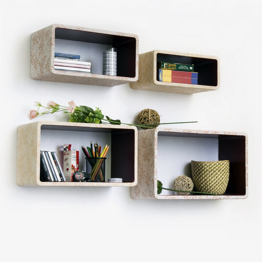 [Blossom Season] Rectangle Leather Wall Shelf (Set of 4)
