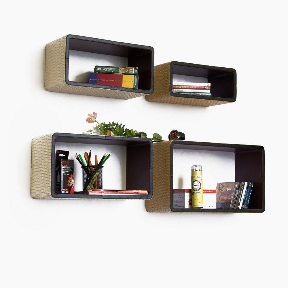 [Elegant Lattice] Rectangle Leather Wall Shelf (Set of 4)