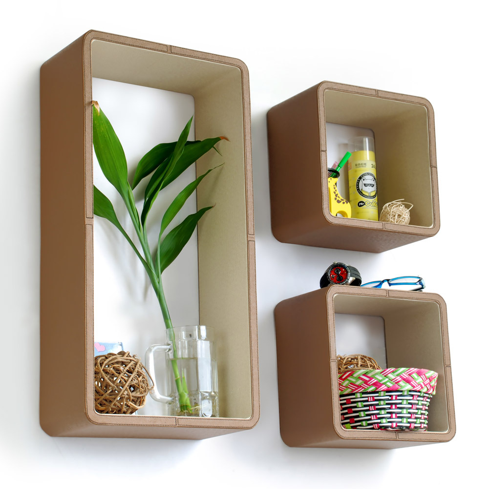 [Tropical Wood] Rectangle Leather Wall Shelf(Set of 3)