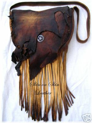 "Leather Purse in Distressed Colored Deerskin 10""x12"""