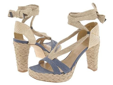 Stuart Weitzman Womens Shoes Lace-up Blue Espadrille Platform Size 9.5