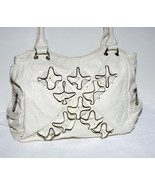 Handbag Soft Bone Color Off White Satchel Ruffl... - $27.00