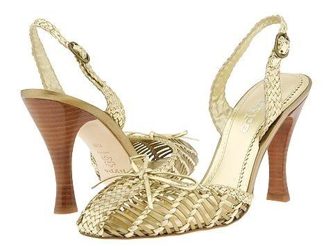 Womans Gold Sandal Dress Shoes Heels Pumps Platform Size 8