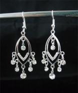 Beautiful Crystal Silver Plated Chandelier Earr... - $6.00