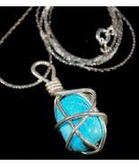 925 SS Wire Wrapped Blue Turquoise Chunk Pendant - $19.95