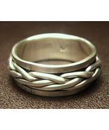 Sterling Silver Spinner Ring Braided Design Mov... - $50.00
