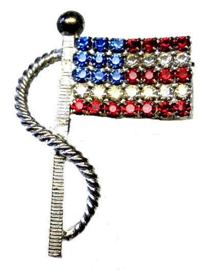 "Vintage 2"" US Flag Brooch /Pin in Rhinestones"