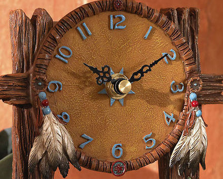 Image 1 of Indian Southwest Decorative Wolf Dream Catcher Tabletop Cloc