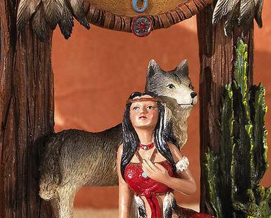 Image 2 of Indian Southwest Decorative Wolf Dream Catcher Tabletop Cloc