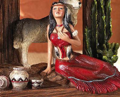 Image 3 of Indian Southwest Decorative Wolf Dream Catcher Tabletop Cloc