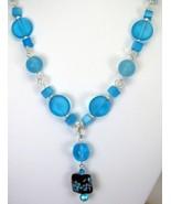 Aqua Blue Sea Glass with Lampwork Focal arrange... - $107.07