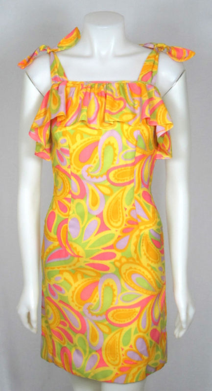 VTG 1960s PSYCHEDELIC PRINT WIGGLE SUMMER DRESS XS