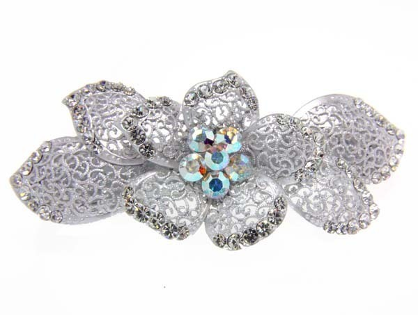 Spring Bloom Filagree  Crystal Hair Clip Barrette Jewelry (G