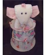 ELEPHANT Pink Baby Girl Shower Gift Diaper Cake... - $48.00