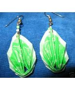 * Origami Earrings green Paper dangle 3D New pi... - $8.45