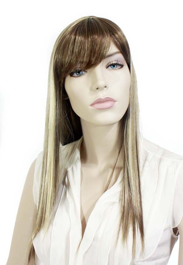 "26"" Mixed brown synthetic wig (l241226z)"