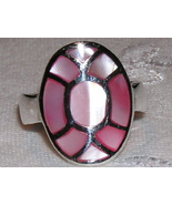 Pink Mother of Pearl and Sterling Siver Ring si... - $17.00