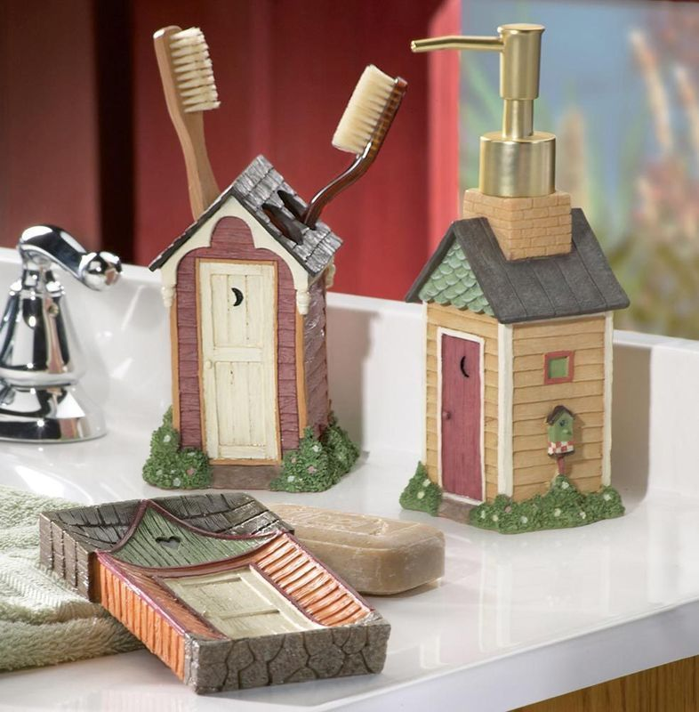 country outhouse soap dish toothbrush holder soap dispenser soap dishes dispensers. Black Bedroom Furniture Sets. Home Design Ideas
