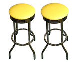 Buy 2 Yellow Vinyl Specialty Chrome Swivel Custom Bar Stools Set