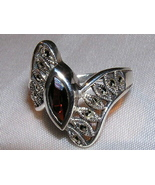 Garnet, Marcasite and Sterling Silver Ring size... - $22.00