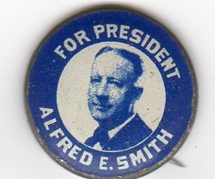 Alfred E. Smith For President 1928 Button vs. Hoover