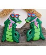 Vintage Alligator Florida Gator Fan Wood Earrin... - $18.95