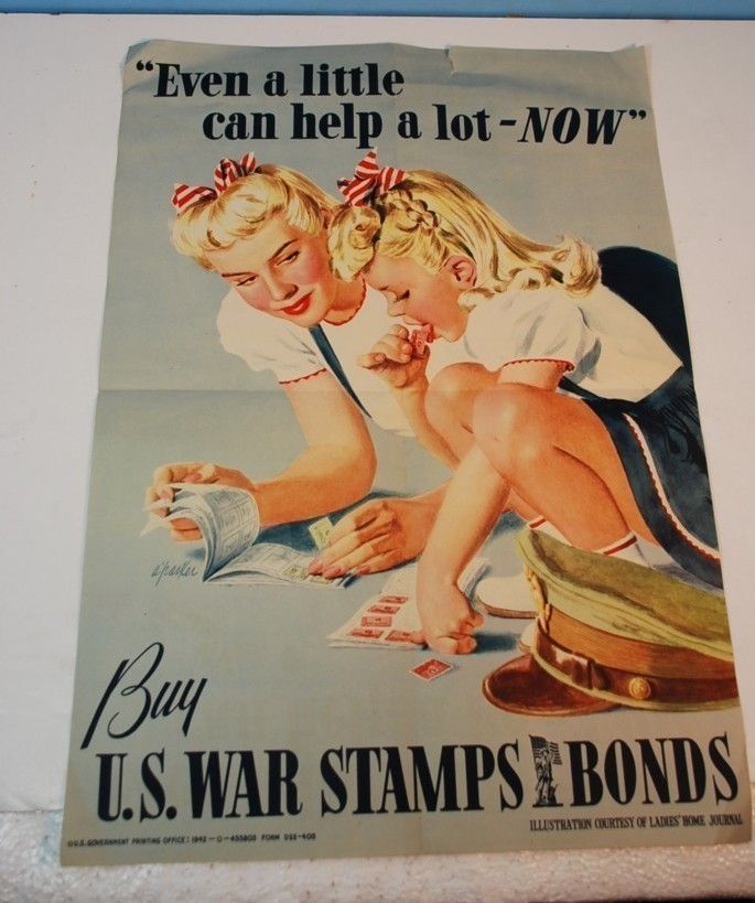 VINTAGE 1942 BUY U.S. WAR STAMPS-BONDS-U.S. PRINTING OFFICE 1942