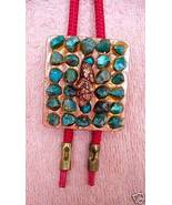BEAUTIFUL COPPER & TURQUOISE NUGGETS BOLO & WOV... - $27.34