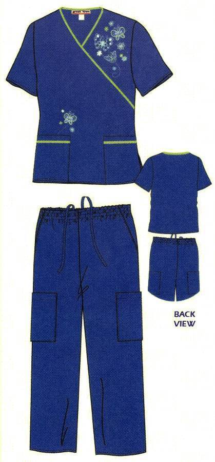 Embroidered Scrub Set   Mock Wrap Scrubs
