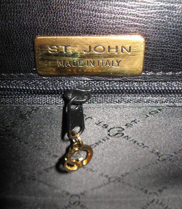 St_john_knits_leather_handbag_purse_bag_black