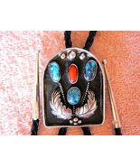 GREAT TURQUOISE & CORAL ANTIQUED STYLE BOLO TIE... - $148.98