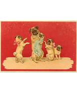 The Pug Family Portrait Vintage Post Card - $6.00