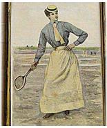Tennis Xylography woodcut 1890 Tennis Player La... - $72.13