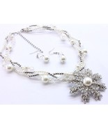 Cream glass bead big crystal flower necklace ea... - $15.83