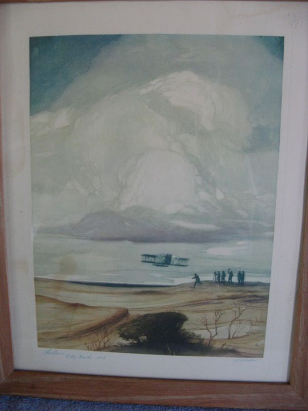 "Historic Aviation Print, ""Airborne, Kitty Hawk, 1903"" Signed by the Artist"