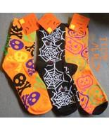 3 pairs of Ladies  Halloween Crew Socks Skull &... - $8.99
