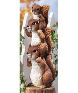 Stack Of Squirrel Peepers Woodland Garden Statue - $18.95