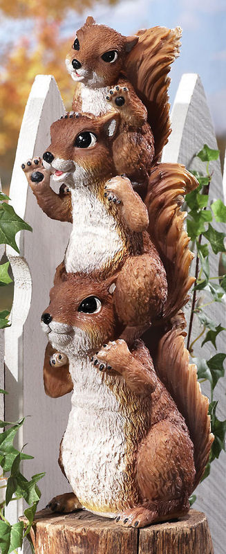 Image 4 of Stack Of Squirrel Peepers Woodland Garden Statue