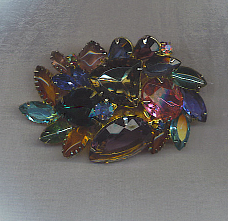 Remarkable Vtg. Multi Color Rhinestone Brooch