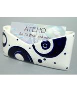 Blue Circles Ceramic Business Card Holder Moder... - $20.00