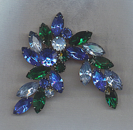 **SALE!!** Stunning Vtg. Rhinestone Brooch in Blues & Rich Greens